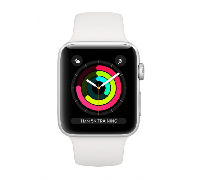 Apple Watch Series 3 38mm Silver Aluminium Case with White Sport Band (MTEY2)