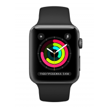 Apple Watch Series 3 38mm Space Grey Aluminum Case with Black Sport Band (MTF02)