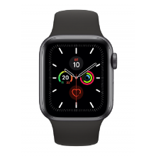 Apple Watch Series 5 GPS, 40mm Space Grey Aluminium Case with Black Sport Band (MWV82)