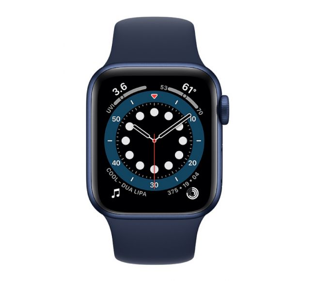 Apple Watch Series 6 GPS, 40mm Blue Aluminium Case with Deep Navy Sport Band (MG143)