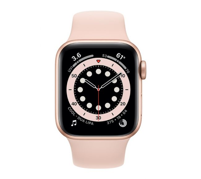 Apple Watch Series 6 GPS, 44mm Gold Aluminium Case with Pink Sand Sport Band (M00E3)