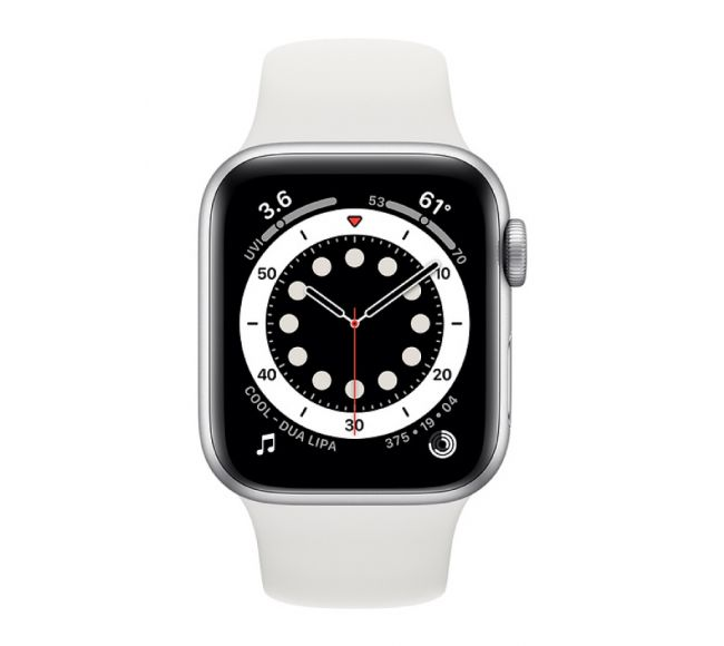 Apple Watch Series 6 GPS, 40mm Silver Aluminium Case with White Sport Black (MG283)