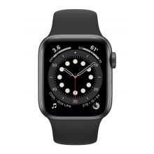 Apple Watch Series 6 GPS, 44mm Space Gray Aluminium Case with Black Sport Black (M00H3)